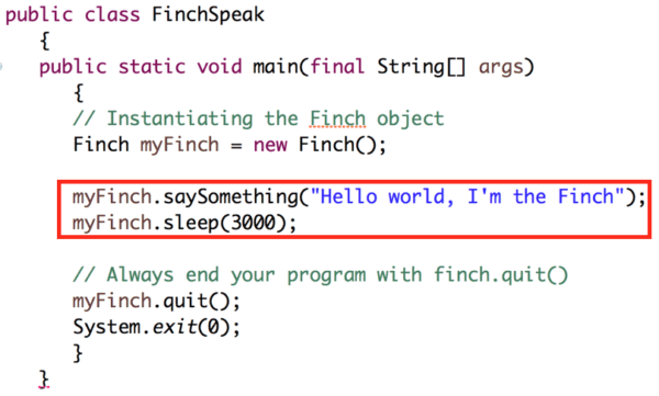 Java: Lesson 1 - Speaking with the Finch - BirdBrain