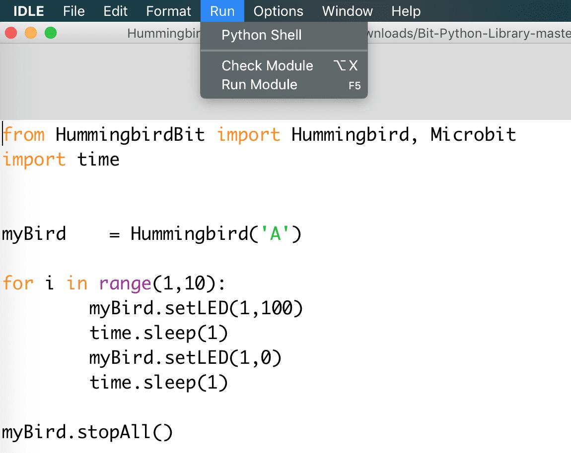 Python: Installation for Hummingbird Bit - BirdBrain Technologies