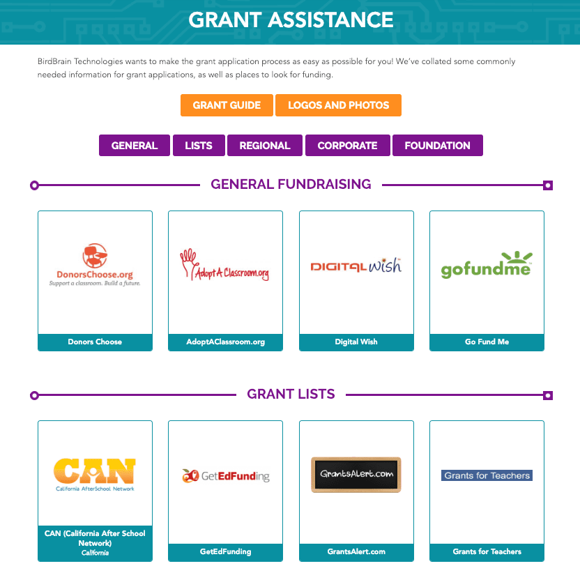 Grant Assistance - BirdBrain Technologies