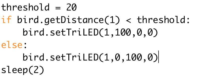 Python: Lesson 8 - Distance Sensor - BirdBrain Technologies