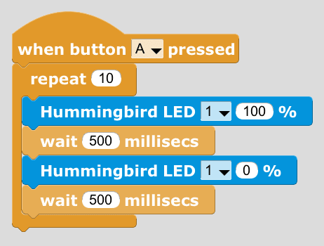 Programming Your Hummingbird with MicroBlocks