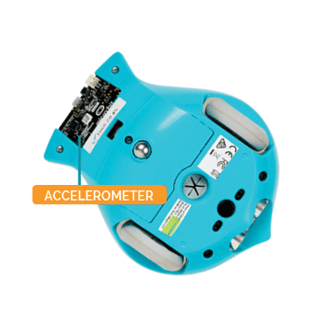 Picture shows that the accelerometer is positioned in the micro:bit in the Finch tail.