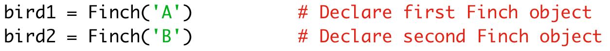 bird1 = Finch('A') # Declare first Finch object  bird2 = Finch('B') # Declare second Finch object