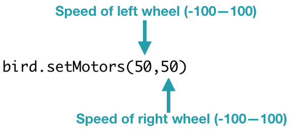 bird.setMotors(50,50)  The setMotors() function takes two parameters, both of which must be between 0 and 100. The first parameter is the speed of the lift wheel, and the second parameter is the speed of the right wheel.